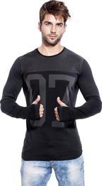 Graphic Print Men Round or Crew Black, Grey T-Shirt