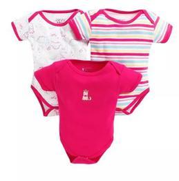 Bumzee Multi Prints Half Sleeves Pack Of 3 Onesies - Pink