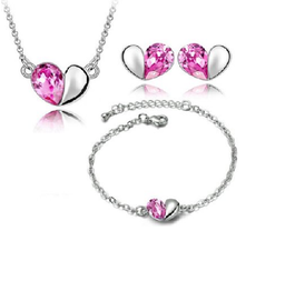 YouBella Heart Shape Crystal Necklace with Gold Plated Rose Flower Combo