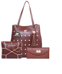 Speed X Fashion Women's PU Handbag Combo (LWH00STY, Brown)