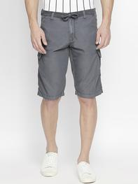 Men Grey Solid Regular Fit Cargo Shorts