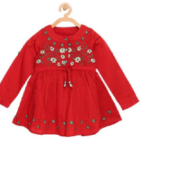 Bella Moda Kids Red Embroidered Dress