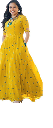 RUDRA ZONE Women's Kurtas with Yellow PUM-PUM(Free Size)