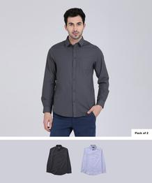 Men Solid Casual Shirt  (Pack of 2)