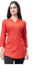 Craze Women Rayon Solid Straight Kurta - Orange