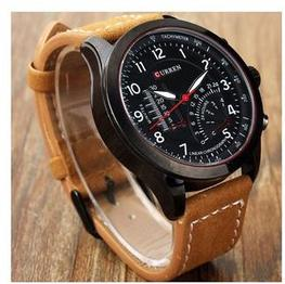 True choice Round Dial Brown Leather Strap Analog Watch for Men