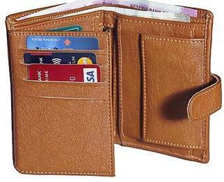 HP-01 Forrester tan vertical trifold wallet (Synthetic leather/Rexine)