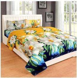 Choco Golden Flower Double Bedsheet Pack of 1