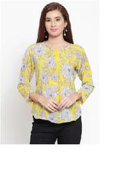 DARZI Women Chiffon Printed - Cape Top Yellow