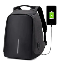 Unisex Waterproof USB Charge Anti-Theft Laptop Backpack (Black)