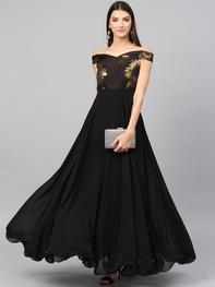 Women Black Solid Maxi Dress