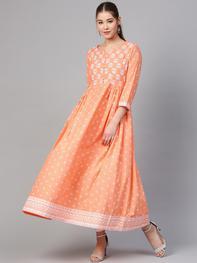 Women Peach-Coloured & White Printed A-Line Kurta
