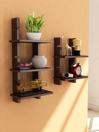 Set of 2 Brown Ladder Wall Shelves
