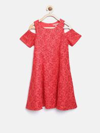Girls Red Sequinned A-Line Dress