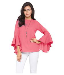 Istyle Can Crepe Regular Tops - Pink