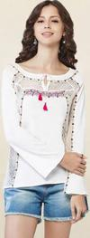 Global Desi White Embroidered Top