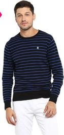 Red Tape Black & Royal Blue Cotton Sweater