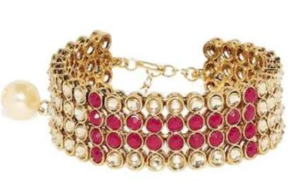 Zaveri Pearls Red & Golden Alloy Flexible Fit Bracelet