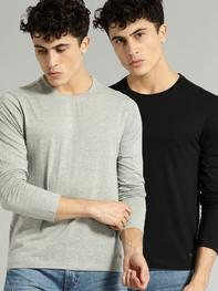 Men Pack Of Two Solid Round Neck T-shirt
