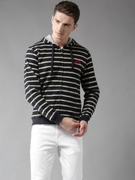 Men Navy Blue & Beige Striped Hooded Sweatshirt