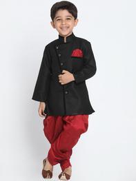Boys Black & Maroon Solid Sherwani