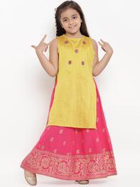 Girls Yellow & Pink Embroidered Kurta with Skirt
