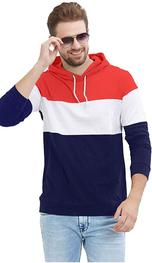 LEWEL Men's Full Sleeve Hooded T-Shirt