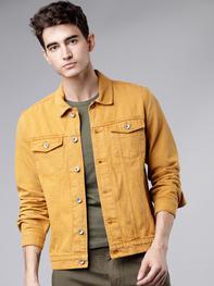 Men Mustard Yellow Solid Trucker Jacket