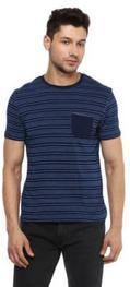 Celio* Navy Striped Cotton T-Shirt