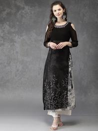 Women Black Embroidered Cold-shoulder A-Line Layered Kurta