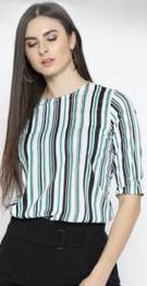 Style Quotient White & Green Striped Top