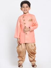 Boys Pink Solid Kurta with Dhoti Pants
