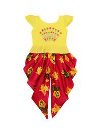 Girls Yellow & Maroon Embroidered Top with Dhoti Pants