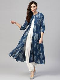 Women Navy Blue Printed Longline Ethnic Open Front Jacket