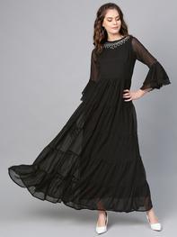 Women Black Solid Tiered Maxi Dress