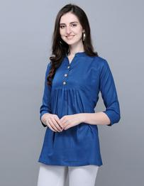 Casual 3/4 Sleeve Solid, Dyed Women Dark Blue Top