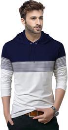 Striped Men Hooded Neck Dark Blue, White T-Shirt