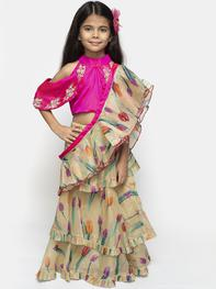 Girls Beige & Pink Embroidered Ready to Wear Lehenga & Blouse with Dupatta