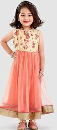 Babyoye Sleeveless Solid Woven Embroidered Gown - Peach