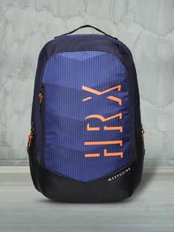 Unisex Navy Blue & Orange Graphic Gravity Backpack