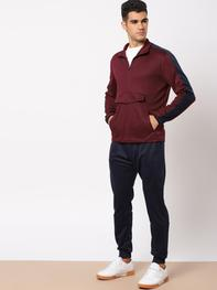 Men Maroon Solid Sweatshirt
