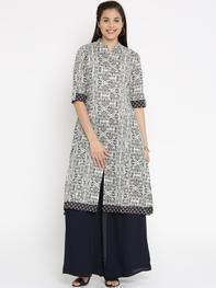 Women Cream-Coloured Printed Straight Kurta