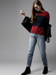 Women Maroon & Navy Blue Colourblocked Pullover