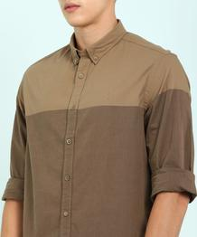 Men Solid Casual Button Down Shirt
