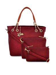 LAFILE - Maroon Colour Solid Hand held Bag