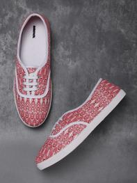 Women Red & Off-White Printed Sneakers