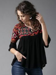 Women Black Printed A-Line Top