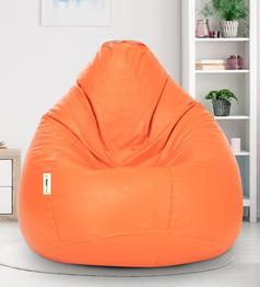 Can - Classic Leatherette Bean Bag Cover in Orange Colour