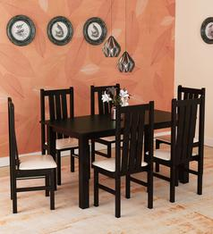 Yung 6 Seater Dining Set in Cappuccino Finish by Mintwud