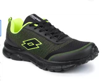 Lotto - Splash Black/ Lime Running Shoes For Men 7 Running Shoes For Men (Black)